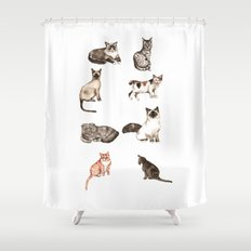 For cat lovers - watercolor of different cat breeds Shower Curtain