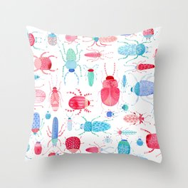 Watercolor Beetles Throw Pillow