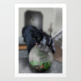 Black Kitty Cat with Fish in Fishbowl Art Print