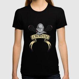 Knight Armor Lacrosse Stick Woodcut T-shirt