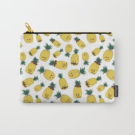 Cute Funny Forest Green Yellow Black Pineapple Pattern Carry-All Pouch