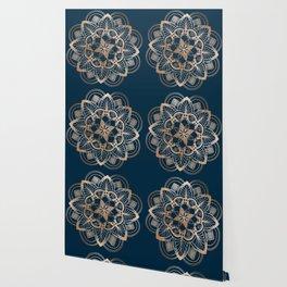 Lotus metal mandala on blue Wallpaper
