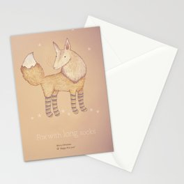Christmas creatures- Fox with long socks Stationery Cards
