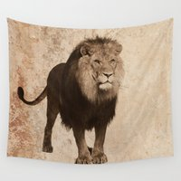 the lion king Wall Tapestries featuring Lion by haroulita