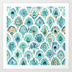 PEACOCK MERMAID Nautical Scales and Feathers Art Print