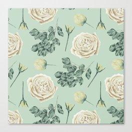Rose Pattern Cream + Mint Green Canvas Print