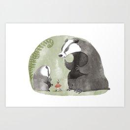 Papa Badger Art Print