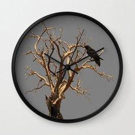 RAVEN ON DEAD TREE GREY ART Wall Clock