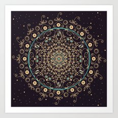 Deep Purple Sky Mandala Art Print