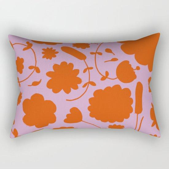 floral pink and orange Rectangular Pillow