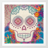calavera Art Prints featuring Calavera by Marie St. Claire