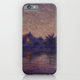 Moonlight Lagoon tropical landscape painting by Anna Woodward iPhone Case