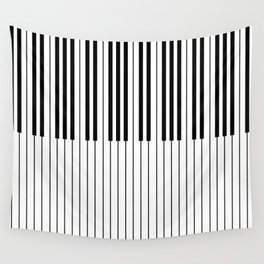 The Piano Black and White Keyboard Wall Tapestry