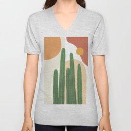 Abstract Cactus I Unisex V-Neck