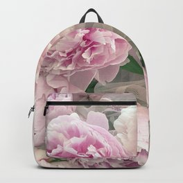 Shabby Chic Pastel Pink Peonies Wall Art - Peonies Home Decor Backpack