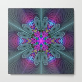 Mandala From the Center, Colorful Fractal Art Metal Print