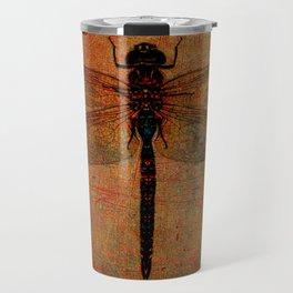 Dragonfly On Orange and Green Background Travel Mug