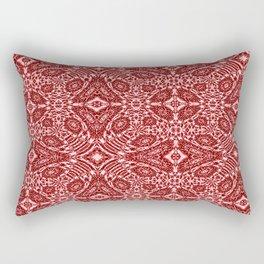 Autumn Crimson Red And White Rectangular Pillow