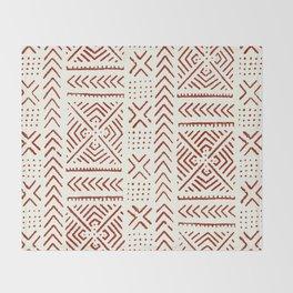 Line Mud Cloth // Ivory & Burgundy Throw Blanket