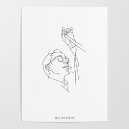 Jean-Luc Godard minimal line drawing Poster