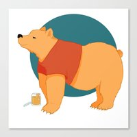 pooh Canvas Prints featuring Pooh Bear by Ray Elaine