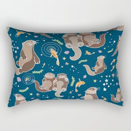 Sea Otters at Night Rectangular Pillow