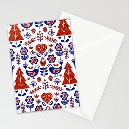 Scandinavian Folk Pattern Seamless Stationery Cards