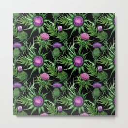 Pink Thistle Pattern on Black Metal Print