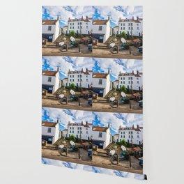Sunny streets of Robin Hood's Bay, England Wallpaper