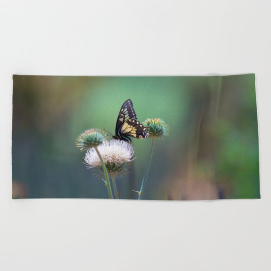 Butterfly Thistle Beach Towel