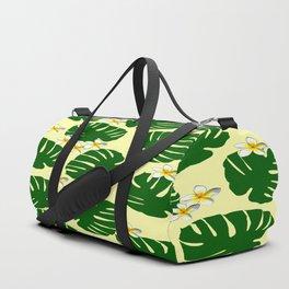 Monstera and Frangipani Pattern Duffle Bag