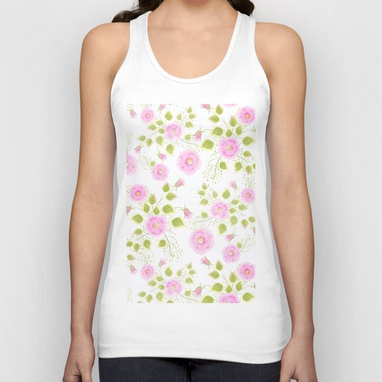 Pink flowers on a white background Unisex Tank Top