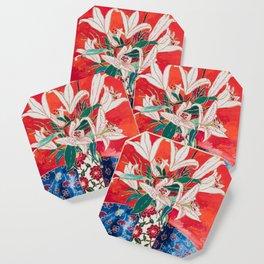 Blush Lily Bouquet on Orange Coaster