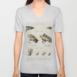 Angling baits from British Fresh Water Fishes (1879) Unisex V-Neck