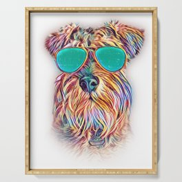 Miniature Schnauzer Colorful Neon Dog Sunglasses Serving Tray