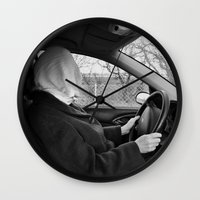 drive Wall Clocks featuring Drive by Bird Heart