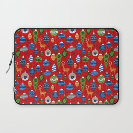 Holiday Ornaments in Red + Blue + Green Laptop Sleeve