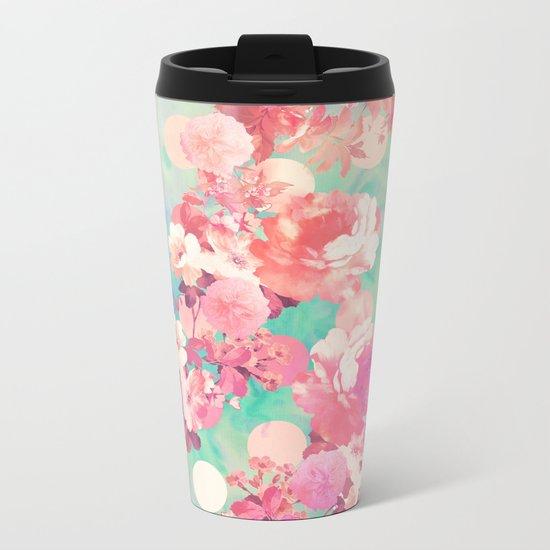 Romantic Pink Retro Floral Pattern Teal Polka Dots Metal Travel Mug