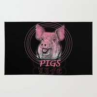 pigs Area & Throw Rugs featuring Pigs Life by VirgoSpice