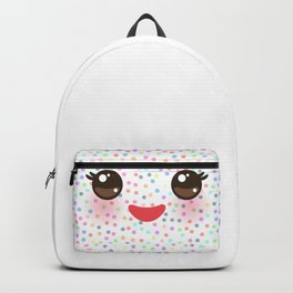 Kawaii funny muzzle with pink cheeks and eyes on white polka dot background Backpack