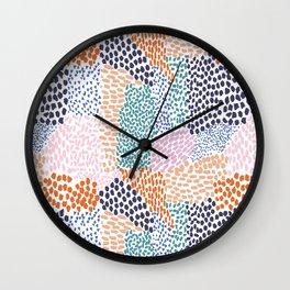 Happy Patchwork Doodle Wall Clock