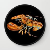maine Wall Clocks featuring Maine Lobster by Tim Jeffs Art