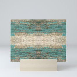 Rustic Wood - Weathered Wooden Plank - Beautiful knotty wood weathered turquoise paint Mini Art Print