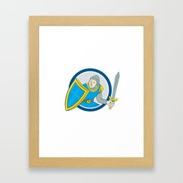 Medieval Knight Shield Sword Circle Cartoon Framed Art Print