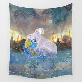 Koala Loves Earth - Australian Surreal Climate Change  Wall Tapestry