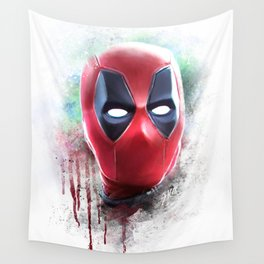 dead pool abstract watercolor portrait painting | Original Fan Art Wall Tapestry