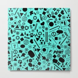 Bits And Pieces On Cyan Blue Metal Print