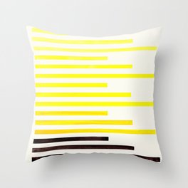 Yellow Minimalist Abstract Mid Century Modern Staggered Thin Stripes Watercolor Painting Throw Pillow