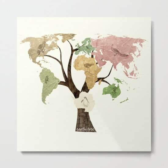 Earth Tree (Birds) Metal Print