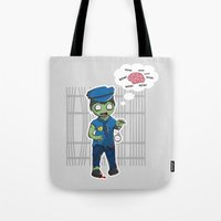 police Tote Bags featuring Zombie Police by Jelo